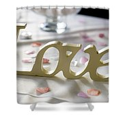 Love Word At A Wedding Shower Curtain