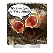 Love You Greeting Card Shower Curtain