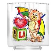 Love You Teddy Bear Shower Curtain