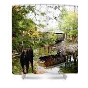 Lovejoy Covered Bridge And Moose Shower Curtain