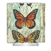 Lovely Butterfly Trio On Tin Tile Shower Curtain