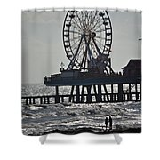 Lovers And A Surfer At Pleasure Pier Shower Curtain
