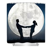 Lovers And Full Moon Shower Curtain