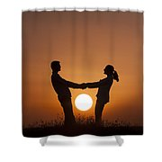 Lovers And Setting Sun Shower Curtain