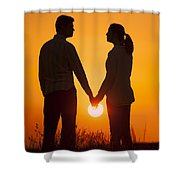 Lovers Holding Hands At Sunset In Silhouette Shower Curtain