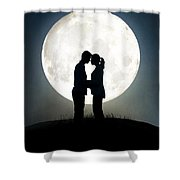 Lovers In Front Of A Full Moon Shower Curtain