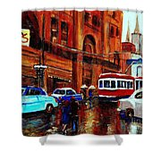Lovers In The Rain Stroll St Catherine Street Near Morgans Department Store Vintage City Scene Art Shower Curtain