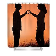 Lovers Making A Heart Shape At Sunset Shower Curtain