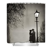 Lovers Say Goodbye Under A Streetlamp Shower Curtain