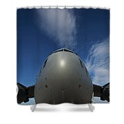 Low Angle View Of A C-17 Globemaster Shower Curtain