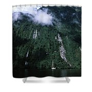 Low Angle View Of A Mountain, Milford Shower Curtain