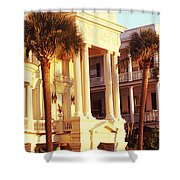 Low Angle View Of Historic Houses Shower Curtain