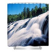Low Angle View Of The Bond Falls Shower Curtain