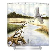 Low Country Marsh Shower Curtain