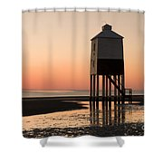 Low Lighthouse Sunset Shower Curtain