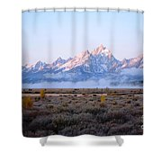 Low Sunrise Clouds Shower Curtain