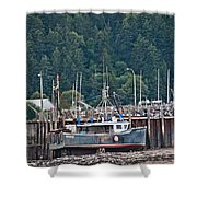 Low Tide Fishing Boat Shower Curtain
