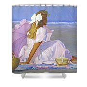 Low Tide Lady Shower Curtain