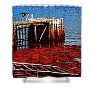 Low Tide - Red Seaweed - Fishing - Moratorium Shower Curtain