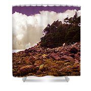 Low Tide Shoreline Closeup With Clouds Shower Curtain