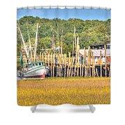 Low Tide - Shrimp Boat Shower Curtain
