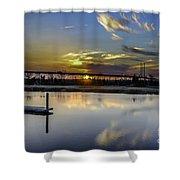 Lowcountry Marina Sunset Shower Curtain