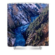 Lower Falls Into Yellowstone River Shower Curtain