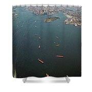 Lower Manhattan And New York Bay Shower Curtain