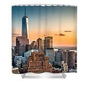 Lower Manhattan At Sunset Shower Curtain