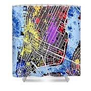 Lower Manhattan Map Shower Curtain