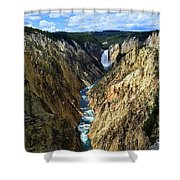 Lower Yellowstone Falls Panorama 2 Shower Curtain