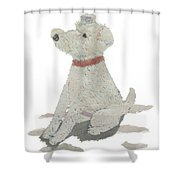 Lakeland Terrier Art Hand-torn Newspaper Collage Art Pet Portrait Shower Curtain
