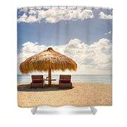 Lucian Beach Hut Shower Curtain