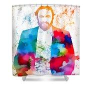 Luciano Pavarotti Paint Splatter Shower Curtain