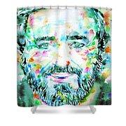 Luciano Pavarotti - Watercolor Portrait Shower Curtain