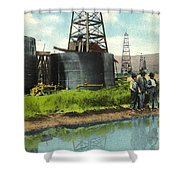 Lucille Derrick No 1  Sump Hole  Coalinga California Circa 1910 Shower Curtain