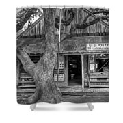 Luckenbach 2 Black And White Shower Curtain
