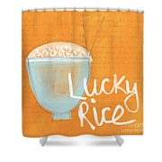 Lucky Rice Shower Curtain by Linda Woods