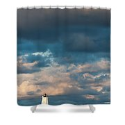 Ludington North Breakwater Lighthouse At Sunrise Shower Curtain