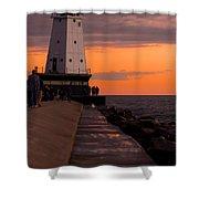 Ludington Pier And Lighthouse Shower Curtain