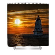 Ludington Pier Lighthead At Sunset Shower Curtain