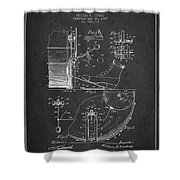 Ludwig Foot Pedal Patent Drawing From 1909 - Dark Shower Curtain