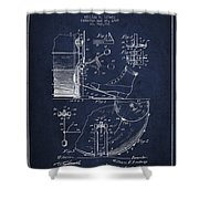 Ludwig Foot Pedal Patent Drawing From 1909 - Navy Blue Shower Curtain