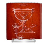 Ludwig Kettle Drum Drum Patent Drawing From 1941 - Red Shower Curtain
