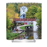 Ludwig Mill And Canal Boat  1480 Shower Curtain