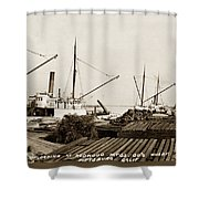 Lumber Steamers Unloading At Redwood Mfg. Co.s Wharf Pittsburg Circa 1920 Shower Curtain