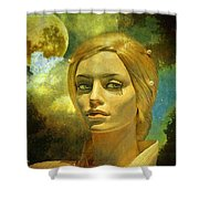 Luna In The Garden Of Evil Shower Curtain by Chuck Staley