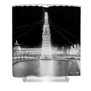 Luna Park At Night Coney Island Shower Curtain