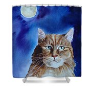 Lunar Cat Shower Curtain