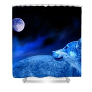 Lunar Wolf 2 Shower Curtain